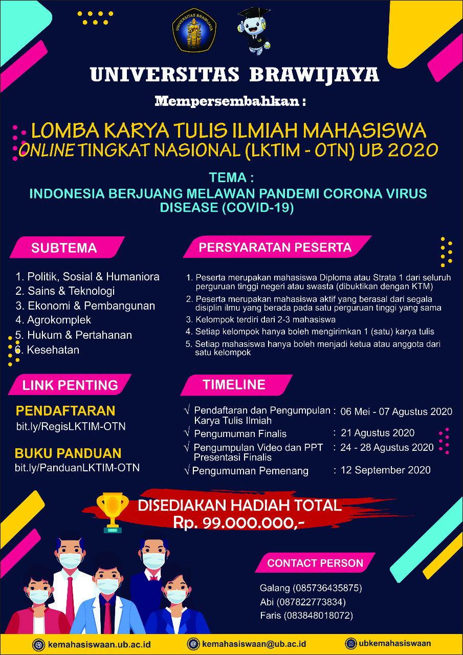 Lomba Karya Tulis Ilmiah Mahasiswa Online Tingkat Nasional Lktim Otn Ub 2020 Fakultas Pertanian